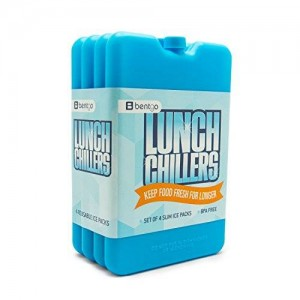 Bentgo Ice Lunch Chillers - Ultra-thin Ice Packs (4 Pack - Blue)