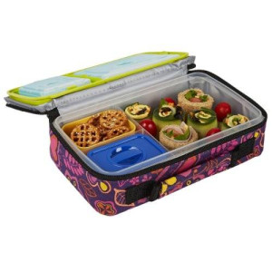 Fit & Fresh Fit and Fresh Kids Bento Lunch Kit with Insulated Bag and Ice Packs, Woodstock