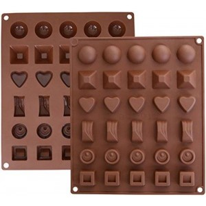 Ozera Silicone Chocolate Jelly Candy Mold, Cake Baking Mold, 30-Cavity, Set of 2, Brown