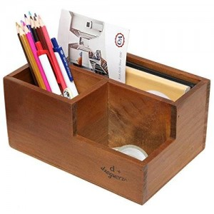 MyGift 3 Compartment Classic Brown Wood Desktop Office Supply Caddy / Pen Holder / Mail Holder / Desk Organizer