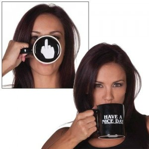 LANDUSA Black Have A Nice Day Coffee Mug Middle Finger Funny Cup 100% ceramic