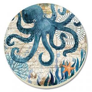 CounterArt Monterey Bay Octopus Absorbent Coasters, Set of 4