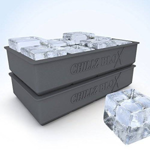 The Classic Kitchen Chillz Blox Large Ice Cube Tray for Whiskey - Silicone Ice Mold Maker - Molds 8 X 2 Inch Ice Cubes (2 Pack)