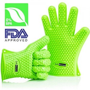IsA-Kitchen Heat Resistant Silicone Gloves - Ideal for BBQ, Grilling, Cooking, Smoking - Durable and Built To Last