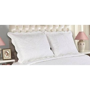 All For You 2-Piece Embroidered Quilted Pillow shams-standard size (White)