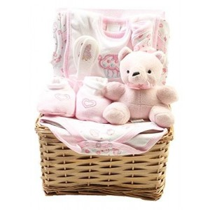 Practik Baby Big Oshi Layette Basket Baby Gift Set, 9 Piece - New Arrival Gift - Cuddly Teddy Bear Included - Baby Pink