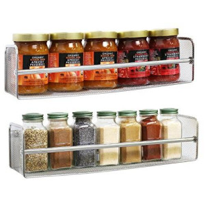Deco Brothers DecoBros 2 Pack Wall Mount Single Tier Mesh Spice Rack, Chrome