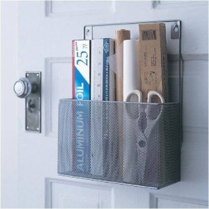 Ybmhome YBM HOME Silver Mesh Wall Mount Pantry Caddy, Wrap Rack Size 10 1/2 x 14 1/2 x 4 inches 1154 (1)
