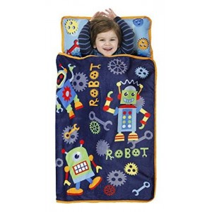 BaBoom Baby Boom Toddler Nap Mat, Action Robots/Blue/Red