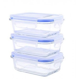 Kinetic Go Green Glasslock Elements Series 6-Piece Rectangular Food Storage Container Set includes 3 Containers and 3 Vented Lids 55093
