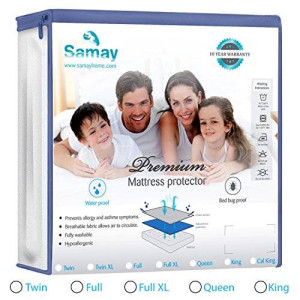 Samay Bed Bug and Waterproof Mattress Cover Zippered Mattress Encasement, Full Size, All sizes available