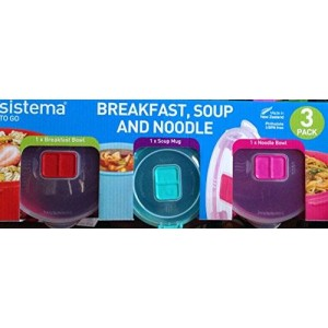 Sistema 3 Pack Soup, Porridge and Noodle Bowl to Go, Assorted Colours