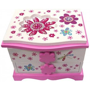 Hot Focus Flower Meadow Musical Wooden Jewelry Chest