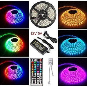 [Waterproof]1byone Music LED Strip Kit 5m(16.4ft) 5050 SMD 300 Leds/m RGB LED Strip Color Changing Light and 44 Key Remote
