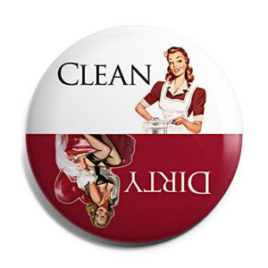 Aloha Girls Gifts Red Retro Clean Dirty Dishwasher Magnet