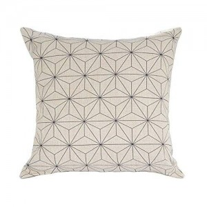 Elviros Cotton Linen Blend Decorative Scandinavian Modern Geometric Design Watercolor Throw Pillow Cover in White and Black 18x18 inch