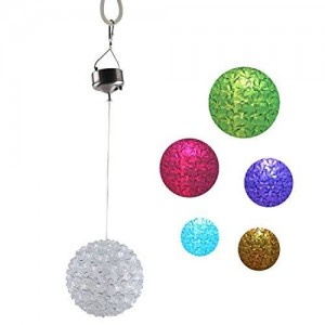 Qooltek Solar Powered Color Changing Led Lights Outdoor Hanging Landscape Lighting Patio Balcony Decorative Solar Lights Crystals Flower Ball Lamps