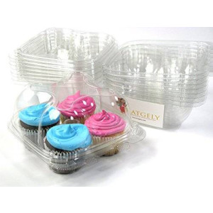 Katgely Inc Katgely Cupcake Boxes Cupcake Containers 4 Pack Cupcake, Set of 10