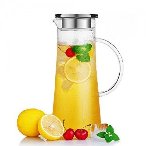 Hiware Glass Water Carafe and Drink Infuser with Stainless Steel Filter Lid