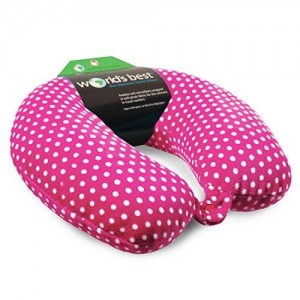 World's Best Mini Polka Dot Feather Soft Microfiber Neck Pillow, Pink