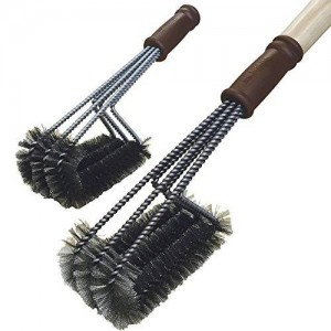 Mr Grill 360° Triple Head Stainless Steel Grill Brush with 2 Replacement Heads!