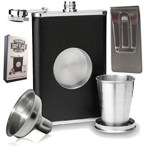 Freedom Shot Glass Hip Flask & Funnel 8oz Shot Flask with Bonus Funnel and Money clip Gift Set by Freedom Flasks. Gift box included.