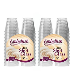 Embellish By Laura Stien Embellish Hard Plastic 1oz Clear Shot Glass 100 count