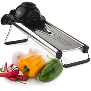 Chef's Inspirations - Premium V-Blade Stainless Steel Mandoline Food Slicer Cutter. Includes 5 Different Inserts.