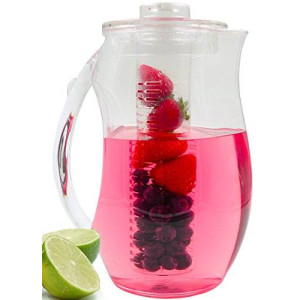 Chef's Inspirations Fruit Infusion Water Pitcher. 2.9 Quart (2.75 Liters). For Refreshing Beverages. Shatterproof Acrylic. Includes Free Ice Core.