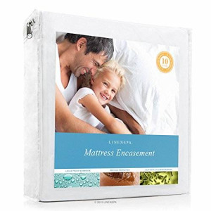 LINENSPA Zippered Encasement Waterproof, Dust Mite Proof, Bed Bug Proof Breathable Mattress Protector - Queen Size