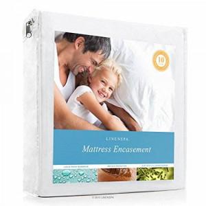 LINENSPA Zippered Encasement Waterproof, Dust Mite Proof, Bed Bug Proof Breathable Mattress Protector - Queen Size