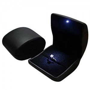 Fascinating Diamonds Deluxe Black LED Lighted Engagement Proposal Ring Box Jewelry Gift Box Case PU Leather