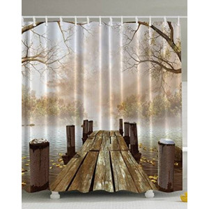 Ambesonne Fall Wooden Bridge Print Polyester Fabric Shower Curtain