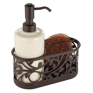 InterDesign Vine Kitchen Sink Soap Dispenser Pump and Sponge Caddy Organizer - Vanilla/Bronze