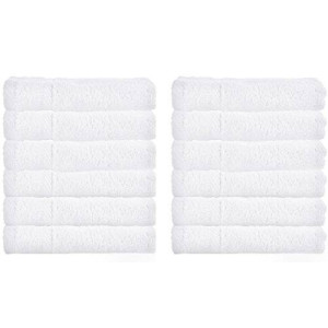 White Classic Luxury Hotel Washcloths, 100% Egyptian Cotton, White Washcloth Set of 12,
