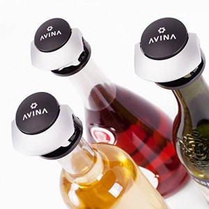 AVINA Locking Wine Stopper Set - Reusable Wine Saver / Wine Preserver System with Secure Rubber Cork