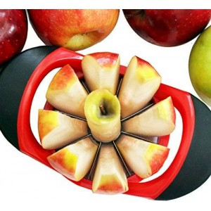 The Original Dynamic Chef Apple Slicer - Stainless Steel Apple Corer - up to 3 ½ Inch Apples - 8 Slices - Comfortable Sturdy Rubber Grips