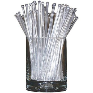 Royer Corporation Royer 6 Inch Plastic Round Top Swizzle Sticks, Set of 48 - Crystal