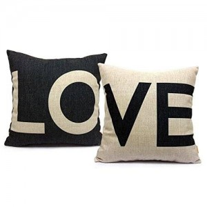 Beety P28 Cotton Linen Cushion Cover Throw Pillow Case Set of 2 - Love (Black and White)