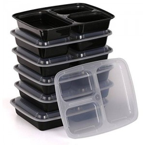 Estilo 3-compartment Microwave Safe Food Container with Lid/divided Plate/bento Box/lunch Tray with Cover, Black, 6-pack