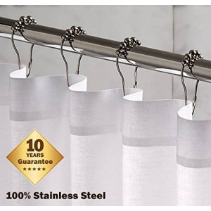 Shower Icon 100% Stainless Steel Shower Curtain Rings and Hooks Polished Chrome - Hotel Highest Quality Grade ; 10 Year Quality Guarantee