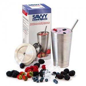Stainless Steel Travel Tumbler by Savvy Drinkware - 16 Oz - No-Leak Lid and Straw - Perfect for Smoothies