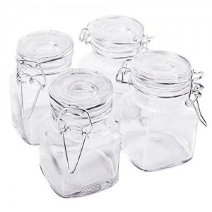 "Super Z Outlet 3 1/4"" Square Glass 3oz Jar with Hinge Glass Lid for Home Kitchen"