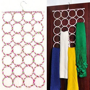 Foldable 28 Ring Hole Slots Space Saving Closet Hanger Scarf, Ties, Belts, Socks Organizer for Home Living Room, Bathroom, Bedroom by Super Z Outlet