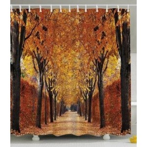Ambesonne Fall Road Print Polyester Fabric Shower Curtain