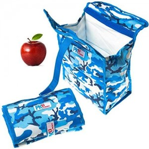 """Set of 2 Packit PK2 Freezable Foldable 8"""" Lunch Bags Gel Lined Reusable Freezer/Cooler"""