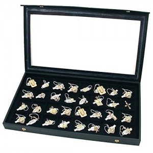 Black Plastic Earring Jewelry Display Case 32 Slots Clear Top for Home Organization by Super Z Outlet