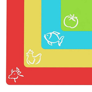 """Extra Thick Flexible Plastic Cutting Board Mats With Food Icons and """"EZ-Grip"""" Gripped Back(Set Of 4) by Cooler Kitchen"""