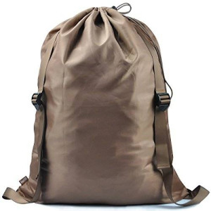 """I WILL Laundry Backpack 2 Strong Shoulder Straps Wash Laundry Washing Bag for Dorm-room Laundry Bag, 25"""" X 31"""" (Brown)"""