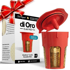 di Oro Caffè MaxBrew 24K Gold Reusable K-Carafe Filter for Keurig 2.0 - Refillable 4-5 Cup Filter for Keurig 2.0: K200